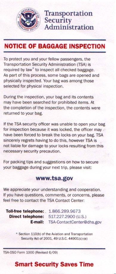 TSA Notice--English